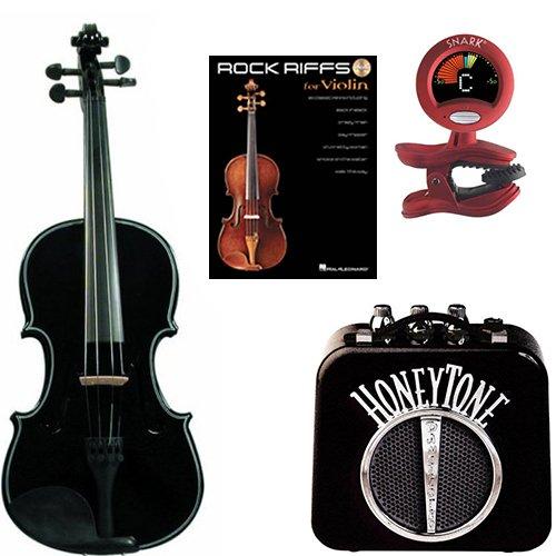 Power Play Rod Belt (RockStar Violin Pack Black- Acoustic Violin w/ Electric Pickup, Mini Amp, Violin Tune /Metronome & Rock Riffs Violin Book)
