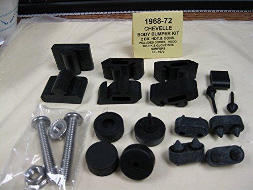 1968 1969 1970 1971 1972 CHEVROLET CHEVELLE BODY BUMPER KIT - DOORS, HOOD, TRUNK & GLOVE BOX BUMPERS For 2-Door, Hardtop & Convertible