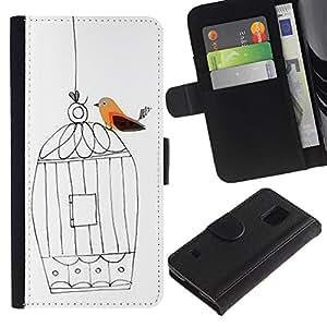 LASTONE PHONE CASE / Lujo Billetera de Cuero Caso del tirón Titular de la tarjeta Flip Carcasa Funda para Samsung Galaxy S5 V SM-G900 / Cage Freedom White Artistic Deep