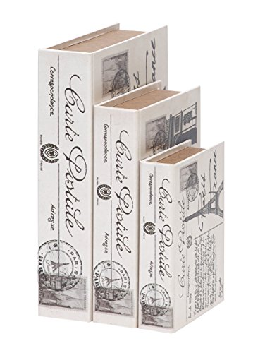 Deco 79 Wood Leather Book Box, 15 by 12 by 9-Inch, White, Set of 3 (Accents Decor Paris)