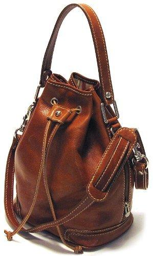 Floto Luggage Zip Pocket Ciabatta Satchel, Olive/Honey Brown, Small by Floto