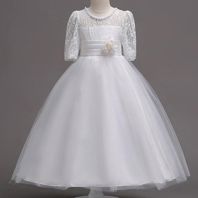 Vestido de fiesta para niña Vestido de boda del partido del vestido de tul del tutú de la princesa de la muchacha del cordón de la princesa Vestido de bola ...