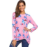 Halife Womens Long Sleeve Floral Print Knot Front Blouses Casual Tops T Shirts