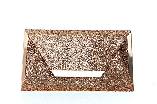Women's Glitter Origami Clutch Handbag with Metallic Hardware Bar - Metallic Hardware