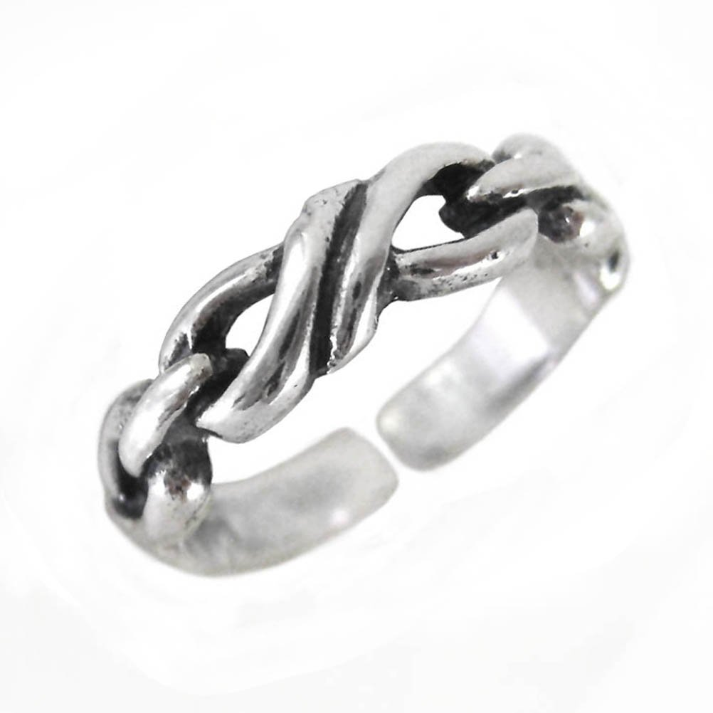 Sterling Silver Twisted Link Adjustable Toe Ring T123