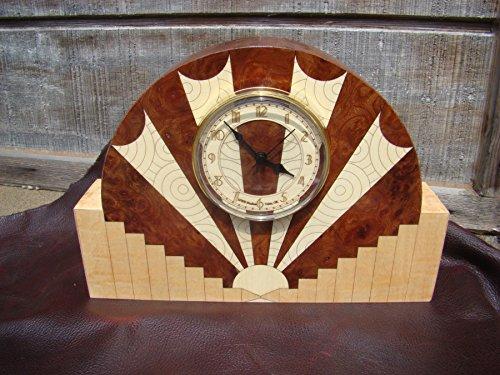 Art Deco Style Clock - Burl Clock Wood