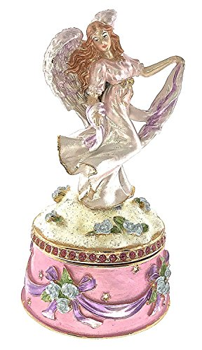 (Angel Fairy Jewelry Trinket Box Bejeweled Swarovski Crystals Enameled HInged)