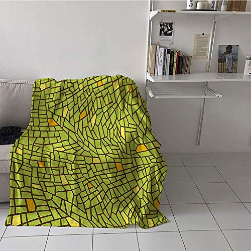 Khaki home Children's Blanket Throw Soft Blanket Microfiber (30 by 50 Inch,Green,Conceptual Stained Glass Design Mosaic Pavement Cracked Like Pieces,Apple Green Mustard Brown