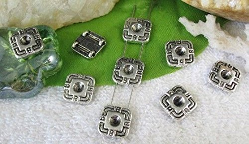 (FidgetFidget 50pcs Tibetan Silver Square 2 Holes Spacer Bead FC10372)