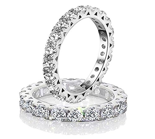 Diamonbella Realistic Simulated Diamond Hearts & Arrows Stackable Eternity Band Ring 3MM Width Solid 925 Silver -