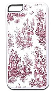 Bohemian Toile Pattern-BURGUNDY -Soft White Rubber Snap - On Case -APPLE IPHONE 6 PLUS ONLY Great Quality!