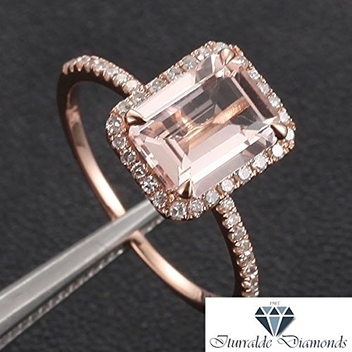 14k Emerald Cut Morganite Engagement Ring Rose Gold Diamond Pave