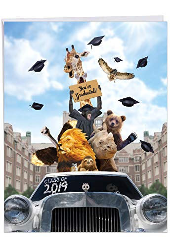 Going Wild 2019 - Graduation Card with Envelope (Big 8.5 x 11 Inch) - Wild Animal Graduates in Limo, Funny Congrats Card for Kids - High School, College Grad, Congratulations Stationery J6269AGDG-19 (Best Student Life Universities In Canada)