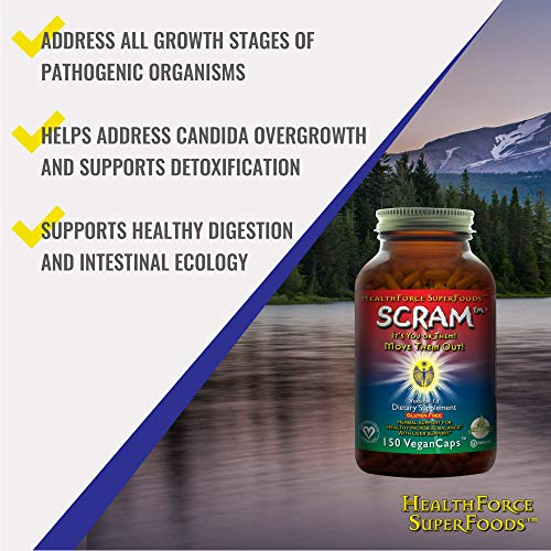 HealthForce SuperFoods Scram - 150 Vegan Capsules - All Natural Internal Parasite Cleanse, Anti Fungal, Anti Yeast - Non GMO, Organic, Gluten Free - 15 Servings by HEALTHFORCE SUPERFOODS (Image #2)