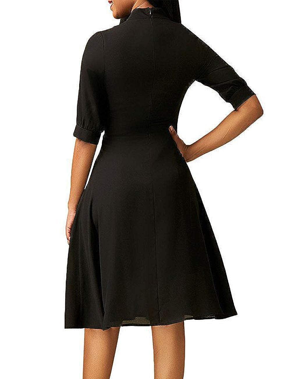 SUNNOE Womens Elegant Tie Neck Half Sleeve Pleated Swing Flare Dress