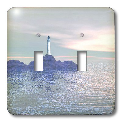 (3dRose LLC lsp_12352_2 Lighthouse On The Sea 3D Double Toggle Switch)