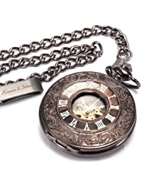KS White Skeleton Hand Winding Mechanical Pendant Analog Awesome Pocket Watch KSP005