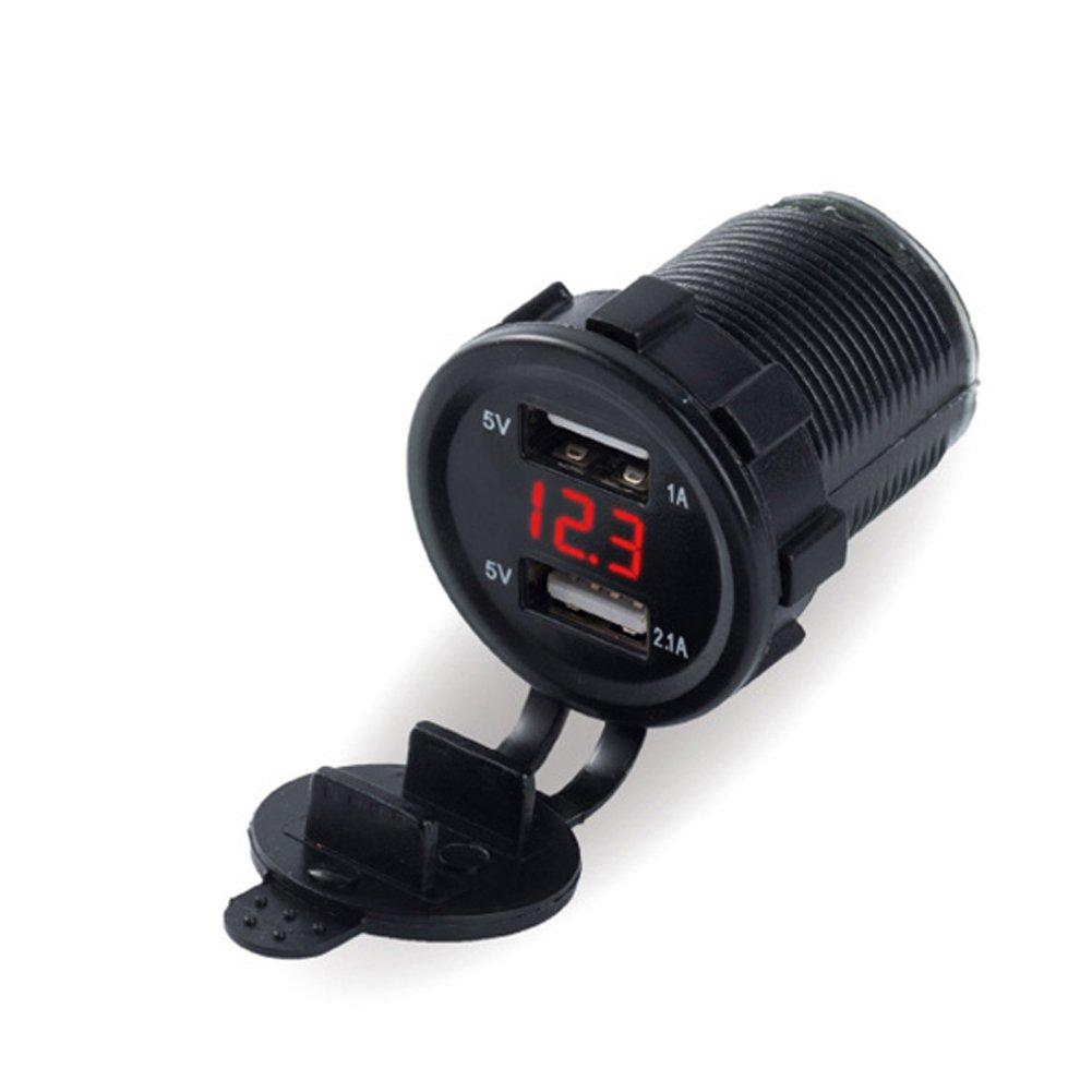 Lembeauty 12 V/24 V 4.2 A Double port USB chargeur de voiture prise allume-cigare chargeur de té lé phone Câ bles Adaptateurs prise de courant avec affichage numé rique LED