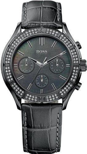 Hugo Boss Leather Chronograph Ladies Watch - Black