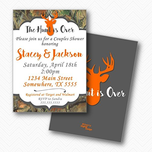 The Hunt is Over Deer Camo Couples Shower Invitations | Envelopes Included