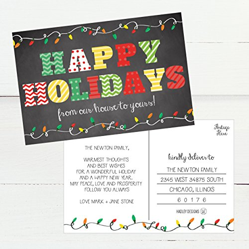 50 Chalkboard Holiday Greeting Cards, Cute Fancy Blank Winter Christmas Postcard Set, Bulk Pack of Premium Seasons Greetings Note, Happy New Years for Kids, Business Office or Church Thank You Notes Photo #3