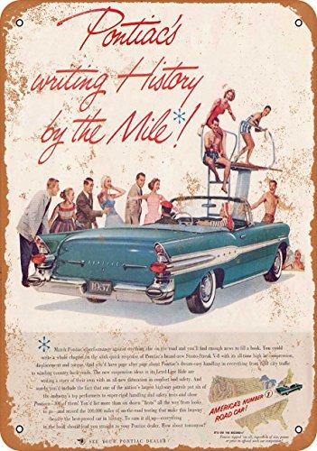 Wall-Color 10 x 14 Metal Sign - 1957 Pontiac Convertible - Vintage Look ()