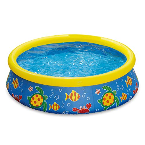 Summer Waves 5 Foot by 15 Inch Inflatable Quick Set Ring Pool with Ocean Print ()