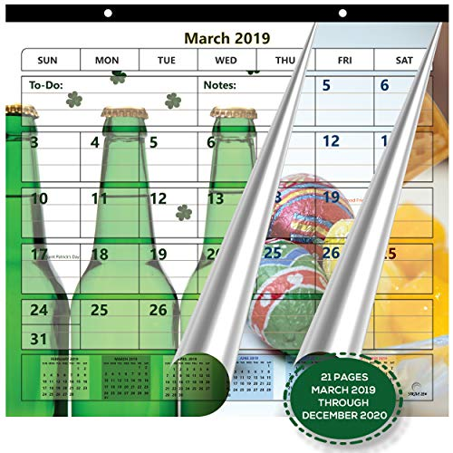 Magnetic Fridge Calendar 2019-2020 by StriveZen, 2 Strong Magnets for Refrigerator, 22 Pages, Monthly March 2019 -December 2020, 10x10 Inch, Academic, Desktop, Gift, Teacher Family Busy Mom Office ()