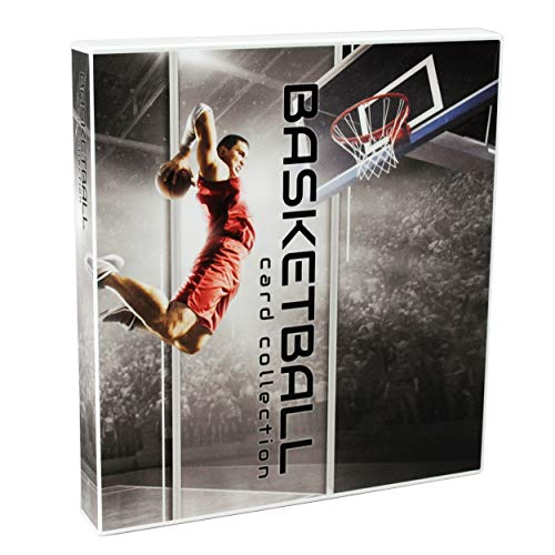 (UniKeep Basketball Themed Trading Card Collection Binder with 10 Platinum Series Trading Card Pages. Fully Enclosed Case with a Locking Latch to Keep Cards Secure)