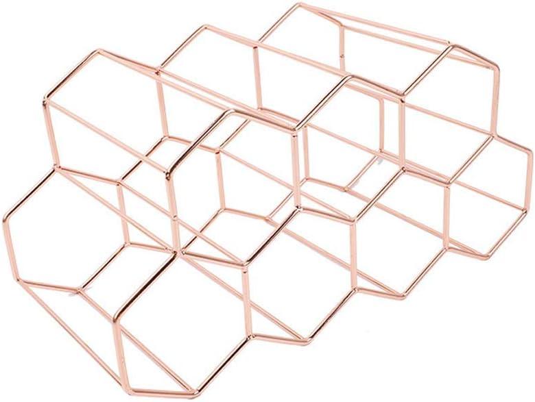 Henan Modern Metal Honeycomb Wine Rack Wine Bottle Storage Beehive Tabletop Wine Rack Black