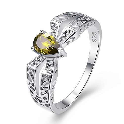 Emsione Created Peridot 925 Sterling Silver Plated Pear Ring for Women