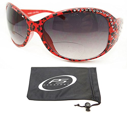 Cheetah Design Red Frame Bifocal Sunglasses 2.00 with Rhinestones for (Jackie Bifocal Sunglasses)