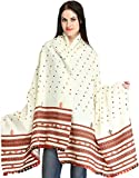 Exotic India Shawl from Kutch with Woven Border and Emb - Color Cream