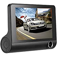 KKmoon 4 Inch 1080P Three Lens Car DVR Dash Cam Camera Camcorder Night Vision / G-sensor / Motion Detection / Loop Recording