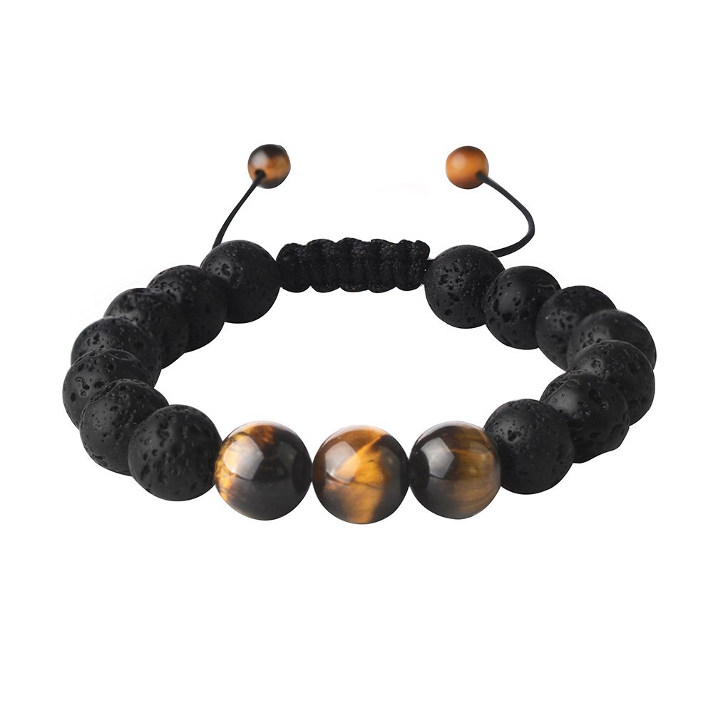 Lava Rock Beads Bracelet Men Beaded Bracelets for Men Healing Gemstone Semi Precious - Strand Essential Oil Bracelets