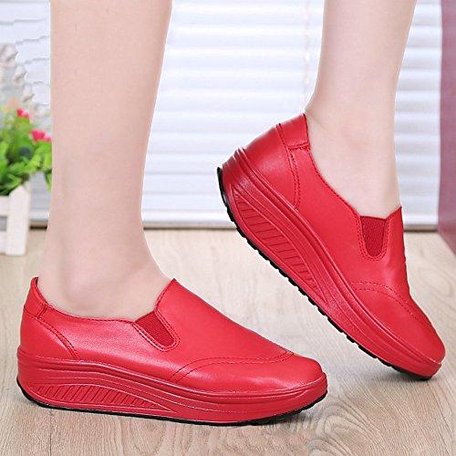 Cybling Womens Lage Top Loafer Schoenen Voor Wandelen Fashion Platform Reizen Casual Sneakers Rood