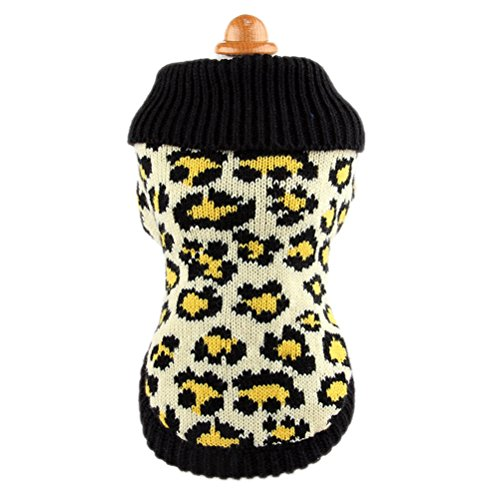Uniquorn Autumn And Winter Dog Clothes Beige Leopard Sweater Teddy Poodle Bichon Fashion Warm