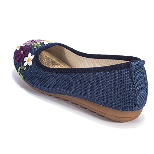 Women's Flats Shoes Flower Embroidery Round Toe Casual Slip On by FUT (Image #5)
