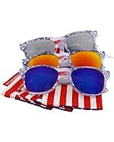 "grinderPUNCH® Limited Edition ""Arctic Denim"" American Flag Mirror Sunglasses"