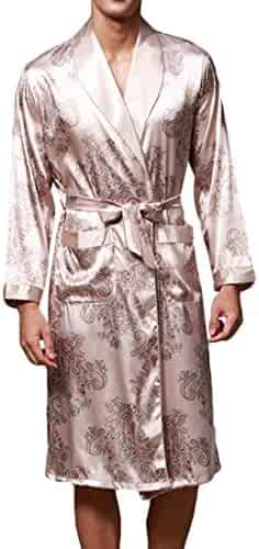 906a918c92 CRYYU Men Floral Printed Satin Bathrobe Knee Length Kimono with Pockets