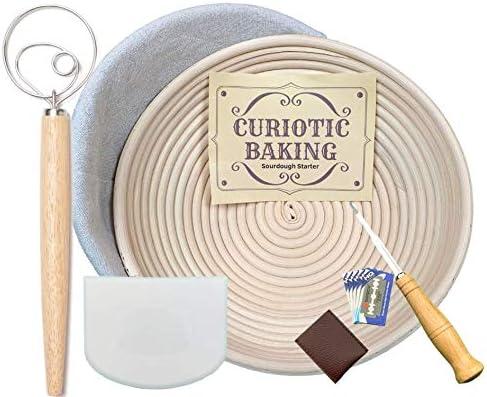 Ultimate Brotback-Werkzeug-Set Teig-Schneebesen Brot Lame Schaber Proofing Sch/üssel mit Liner Sauerteig-Starter