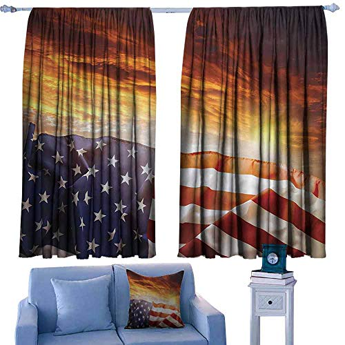 DONEECKL Windshield Curtain American Flag Decor Flag in Front of Sunset Sky with Horizon Light America Union Idyllic Photo Thermal Insulated Tie Up Curtain W84 xL72 Multi