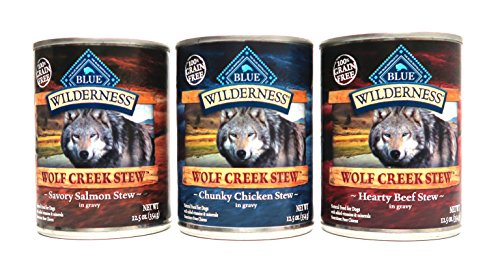 Blue Buffalo Salmon Dinner (Blue Buffalo Wilderness Wolf Creek Stew Dog Food Variety Pack, 3 Flavors, 6 Total Cans)