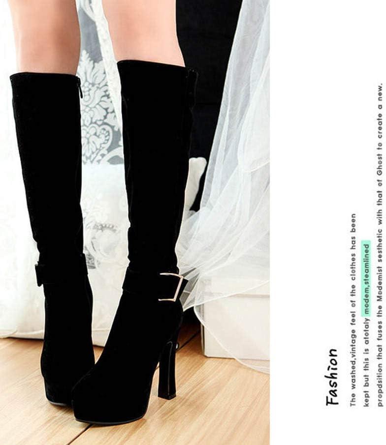 12Cm Chunkly Heel Knight Boot Knee High Boot Women Thick Platform Belt Buckle Dress Boot Eu Size 32-43 Black