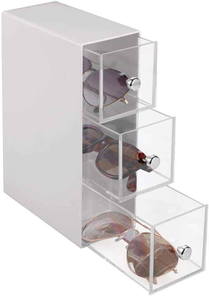 mDesign Cajonera de plástico – Organizador de Gafas con 3 cajones – Práctica cajonera para Gafas de Sol, de Leer u Otros Accesorios – Gris Claro y Transparente