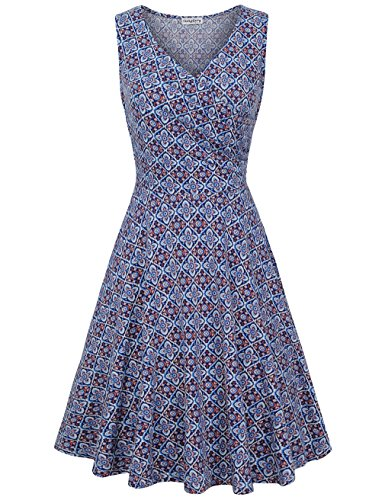 (SUNGLORY Picnic Dress,Sleeveless Vintage Printed V Neck Cross Front A Line Casual Swing Dress Purple M)