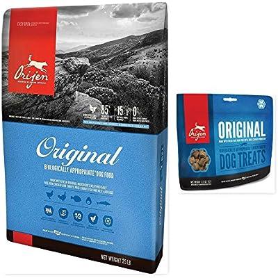 Orijen 1 Original Dry Dog Food 25 lb. Bag & 1 Original Dog Treat 3.25 OZ Bag Bundle (2 Items)