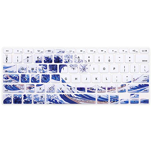 MOSISO Keyboard Cover with Pattern Compatible 13/15 Inch(with/Without Retina Display,2015 or Older Version), Older MacBook Air 13 Inch (A1466/A1369, Release 2010-2017), Great Sea Wave