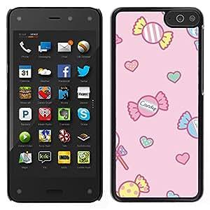 Cubierta protectora del caso de Shell Plástico || Amazon Fire Phone || dulces de caramelo dibujo rosa niños rosa @XPTECH