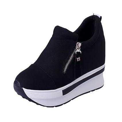 XINANTIME - Cuñas mujer botas zapatos de plataforma Zapatillas de deporte con resbalón en los tobillos (EU:34, Rojo): Amazon.es: Hogar